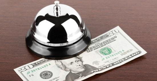Customer Service Bell with Twenty Dollar Bill