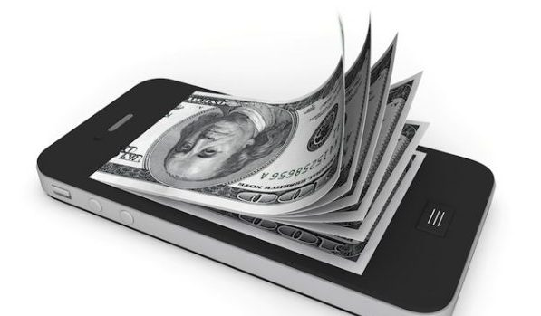 Mobile Phone with 100 Dollar Bills