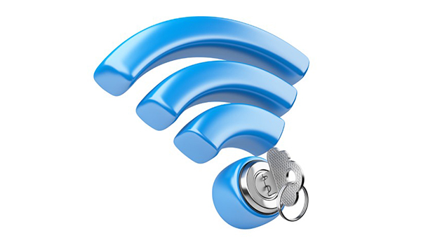 WiFi Symbol with a Secure Lock and Key