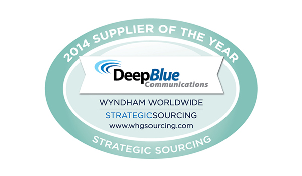Deep Blue Communications wyndham worldwide 2014 supplier of the year for hotel wifi