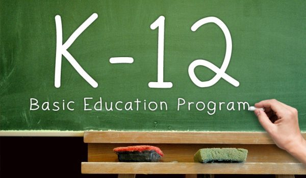 Chalkboard with K-12 Basic Education Program Written in Chalk