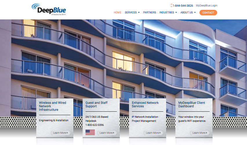 Screenshot of Deep Blue Communications home page
