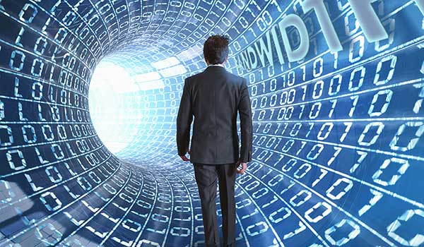 Man in suit walking through a WiFi Bandwidth Tunnel