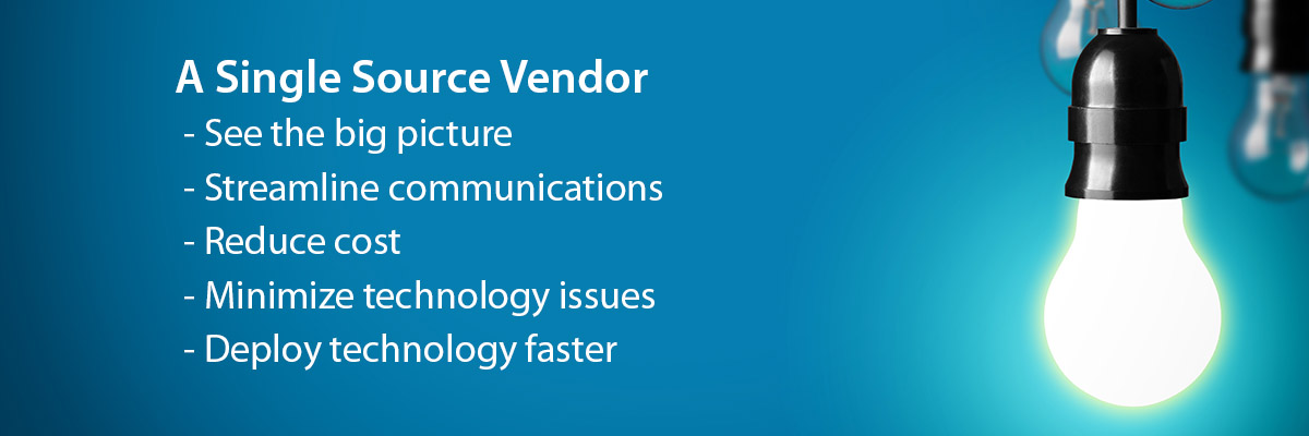 5 Benefits of a Single Source WiFi Vendor: See the big picture, streamline communications, reduce cost, minimize technology issues, deploy technology faster