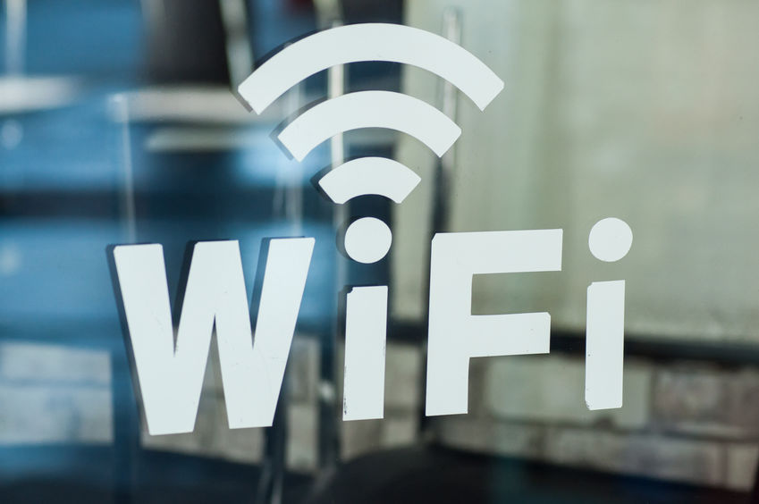 Closeup of wifi logo on retail store window