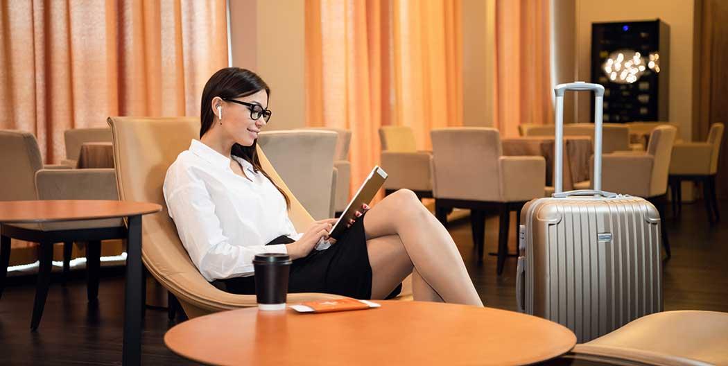 professional using hotel lobby WiFi